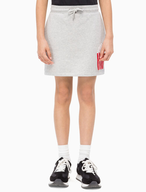 CALVIN KLEIN GIRLS POPCORN TOWEL PRINT SKIRT