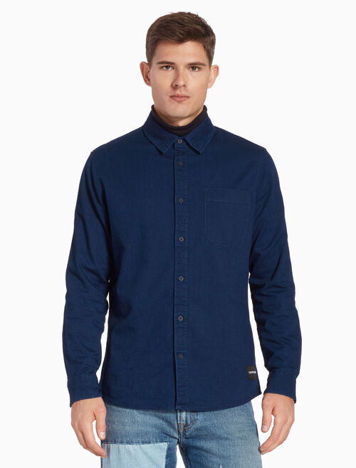 CALVIN KLEIN CHAMBRAY SLIM SHIRT