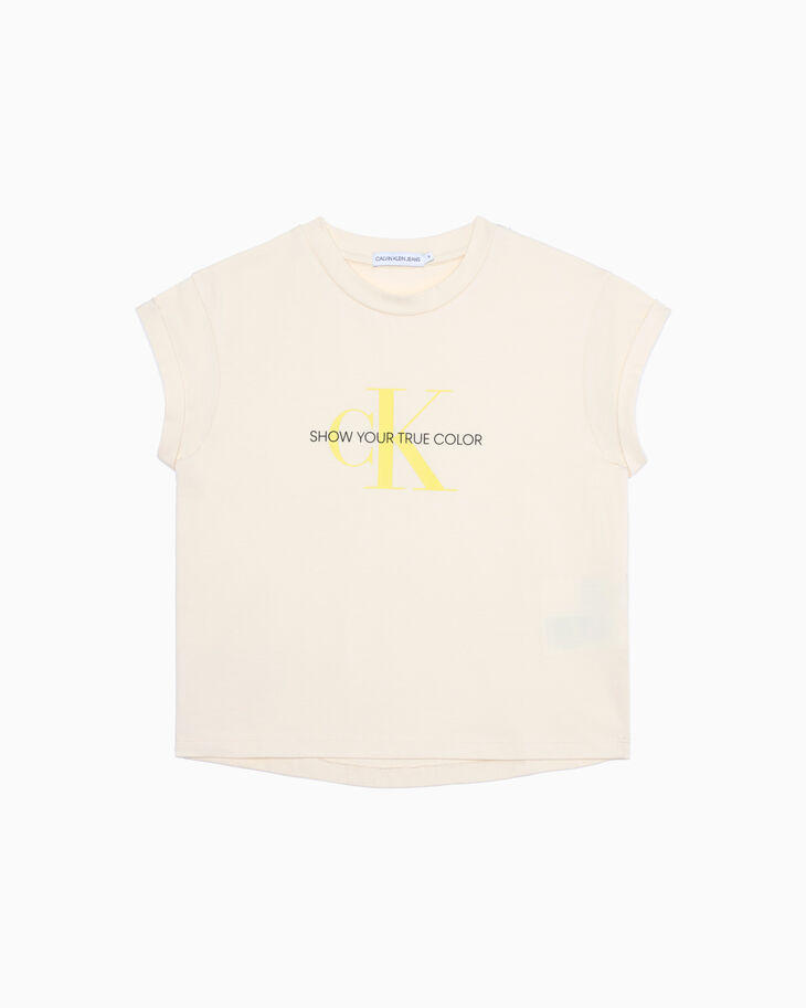 CALVIN KLEIN GIRLS NATURAL DYE MONOGRAM TEE