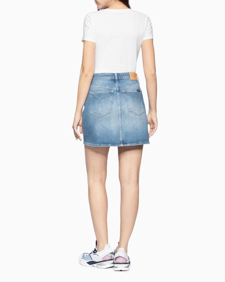 CALVIN KLEIN HIGH RISE DENIM MINI SKIRT