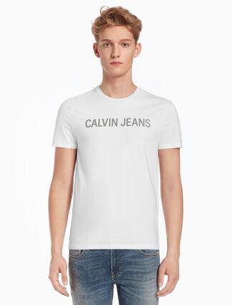 CALVIN KLEIN インスティテューショナル スリム T シャツ ロゴプリント付き
