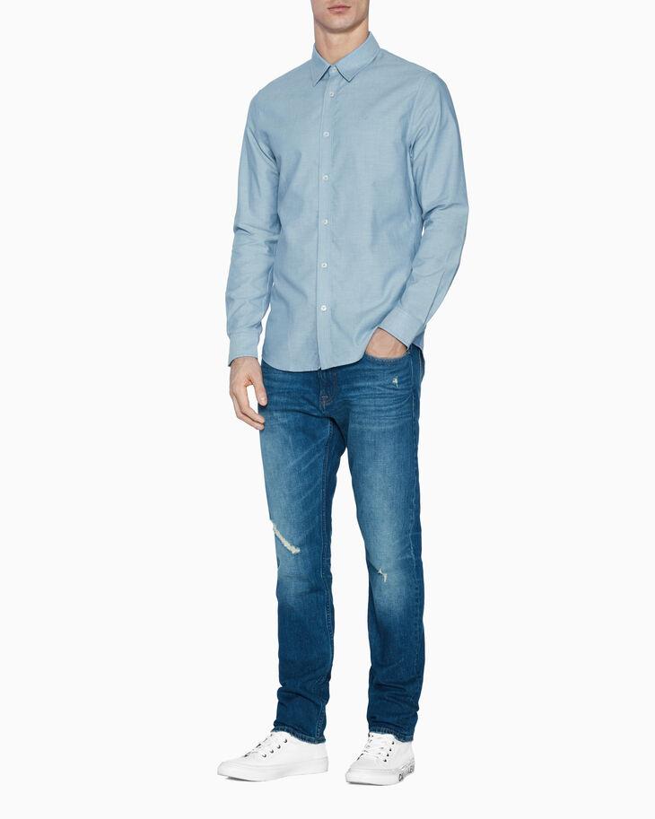 CALVIN KLEIN 슬림 샴브레이 셔츠