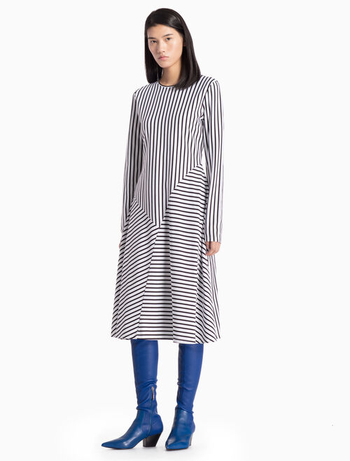CALVIN KLEIN KNITTED ASYMMETRIC STRIPE DRESS