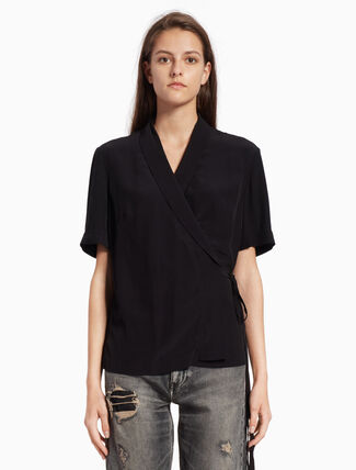 CALVIN KLEIN VISCOSE WRAP TOP