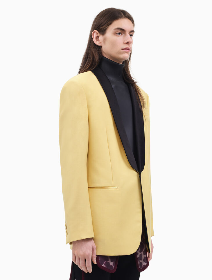 CALVIN KLEIN SHAWL COLLAR BOXY TUXEDO JACKET IN LIGHT WOOL KID MOHAIR