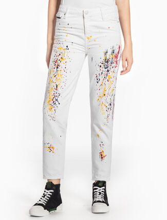 CALVIN KLEIN WHITE HIGH-RISE STRAIGHT JEANS