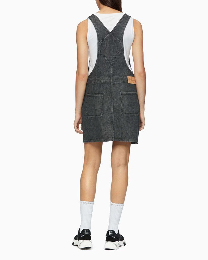 CALVIN KLEIN MONOGRAM DENIM DUNGAREE DRESS