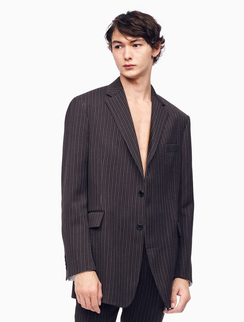 CALVIN KLEIN OVERSIZED SINGLE-BREASTED BOXY BLAZER IN DARK BROWN STRIPE
