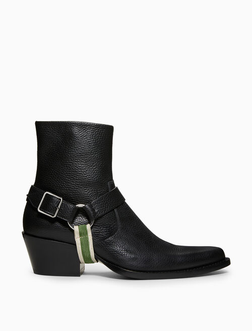 CALVIN KLEIN TEX HARNESS IN GRAINY CALF LEATHER
