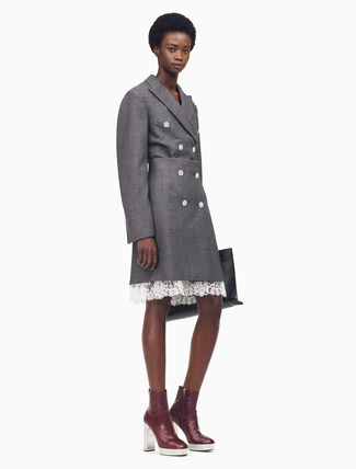 CALVIN KLEIN Tailored Mini Skirt In Check Wool