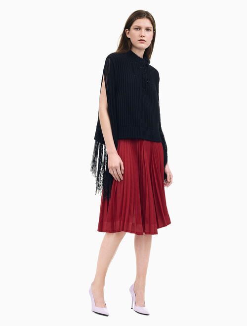 CALVIN KLEIN SOLEIL PLEATED SKIRT IN SHEER POLY GAUZE
