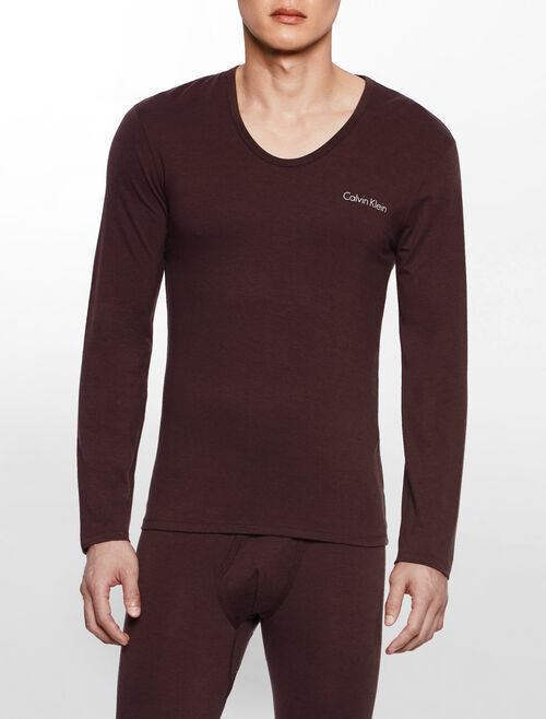 CALVIN KLEIN BLACK MERINO Long Sleeves CREW NECK TEE
