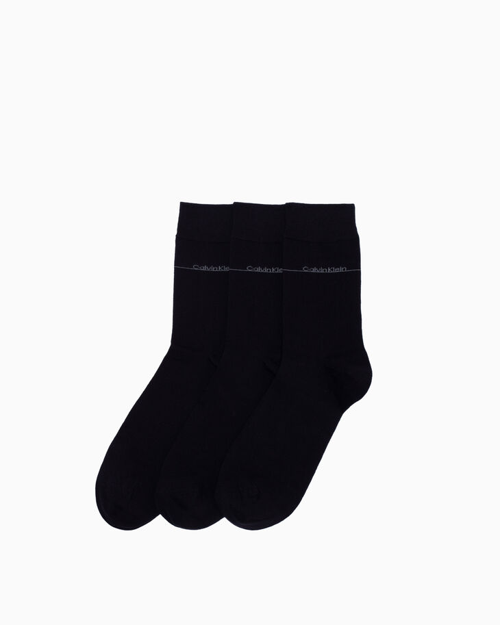 CALVIN KLEIN LOGO COTTON CREW SOCKS 3 PACK