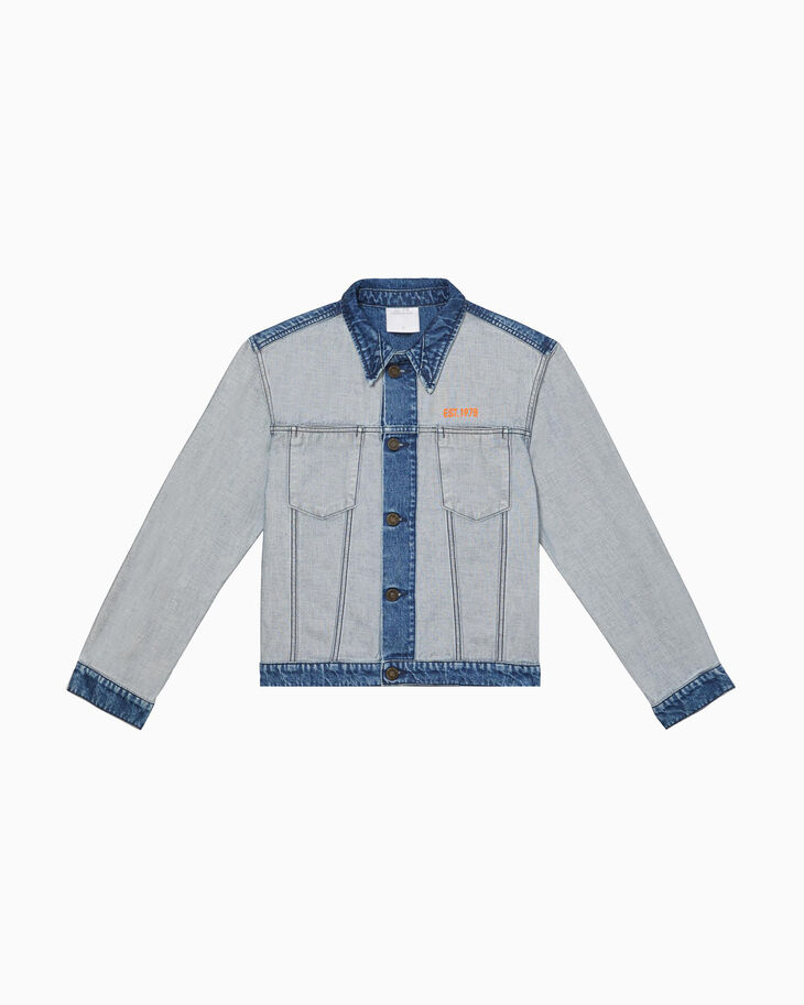 CALVIN KLEIN INSIDE OUT INDIGO STONE DENIM TRUCKER JACKET