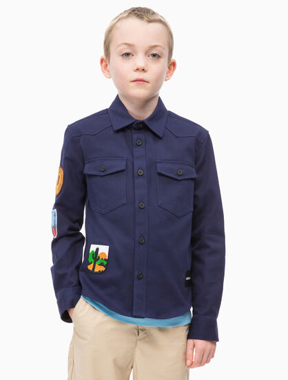 CALVIN KLEIN UTILITY SHIRT WITH BADGE
