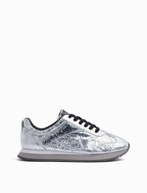 CALVIN KLEIN JILL METALLIC LACE UP SNEAKERS