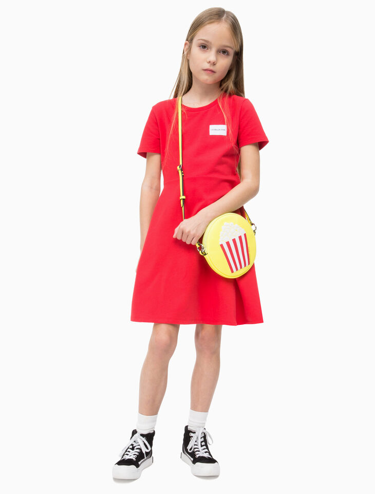 CALVIN KLEIN 여아용 베이비 테리 스케이터 드레스