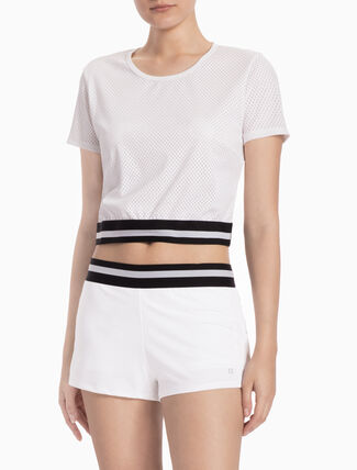 CALVIN KLEIN CROPPED TOP WITH STRIPED HEM