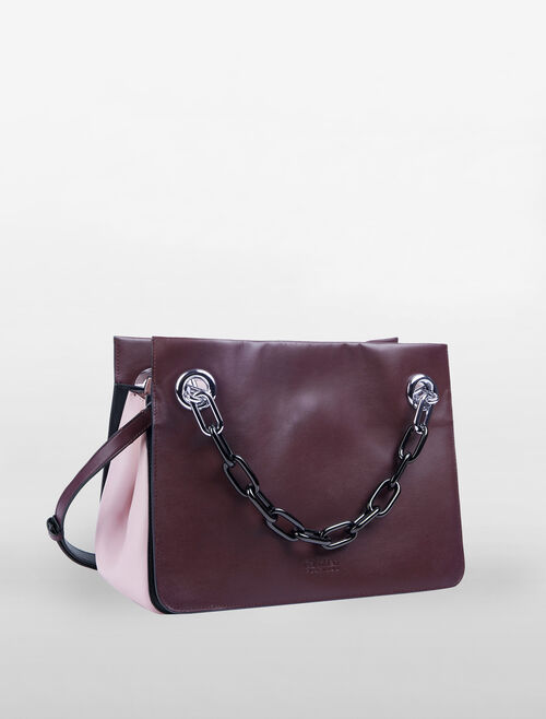 CALVIN KLEIN FLARED FLARED SATCHEL WITH CHAIN