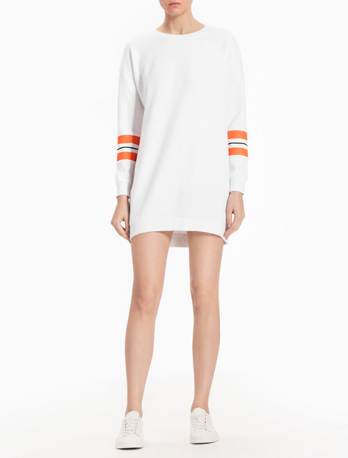 CALVIN KLEIN SWEAT DRESS WITH LONG STRIPED SLEEVES