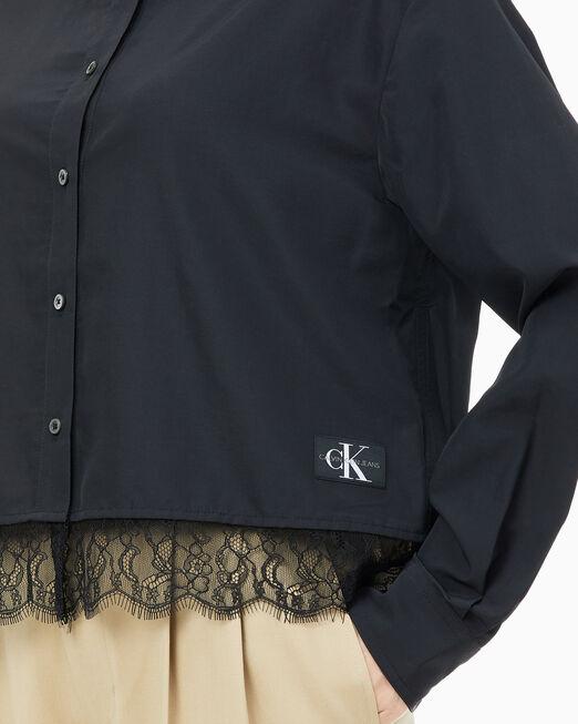 CALVIN KLEIN 여성 크롭 레이스 셔츠