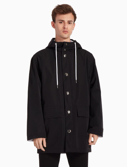 CALVIN KLEIN RUBBER TRENCH COAT WITH HOOD