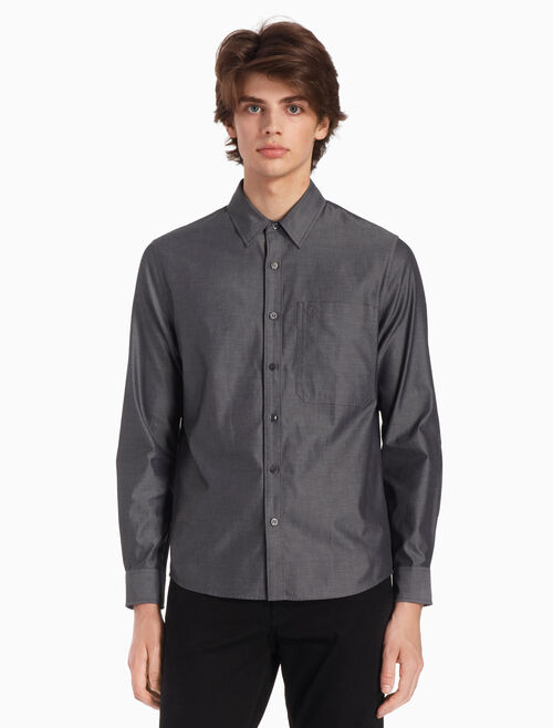 CALVIN KLEIN WOVEN EMBROIDERED LOGO SHIRT