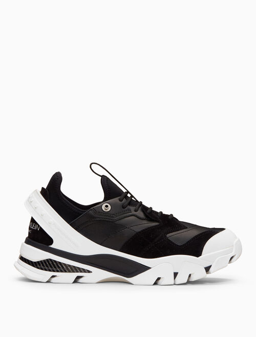 CALVIN KLEIN lace-up sneaker in nappa leather + suede