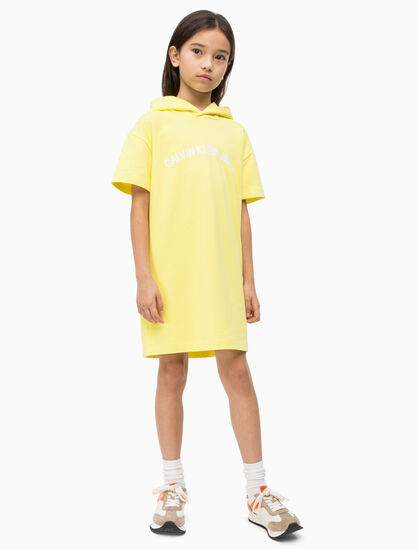 CALVIN KLEIN GIRLS LOGO HOODED SWEAT DRESS