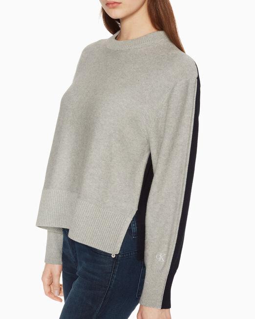 CALVIN KLEIN 여성 씨엔와이 컬러블록 스웨터