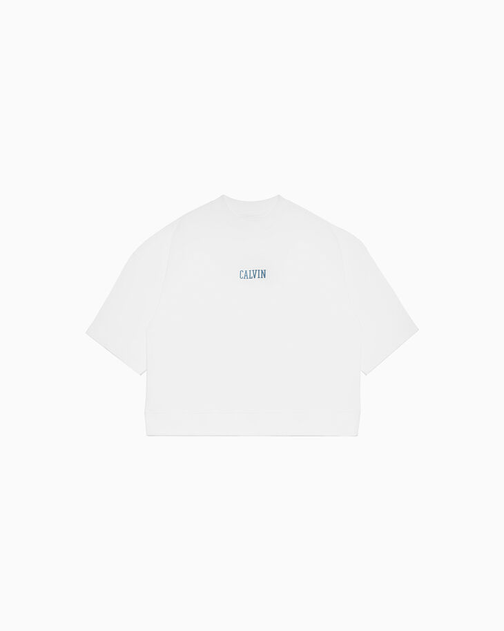 CALVIN KLEIN METALLIC LOGO SHORT SLEEVE SWEATSHIRT