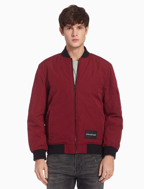 CALVIN KLEIN LOGO PATCH BOMBER JACKET