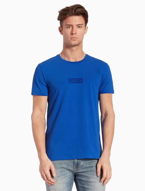CALVIN KLEIN KNIT FLOCKED VELVET LOGO 티셔츠