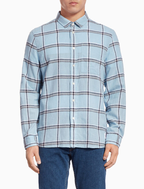 CALVIN KLEIN WASHED CHECK LINEN COTTON SHIRT