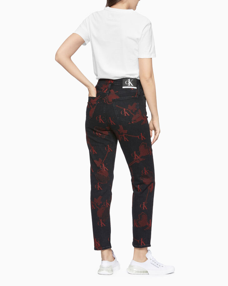 CALVIN KLEIN CK ONE ALL OVER PRINT MOM JEANS