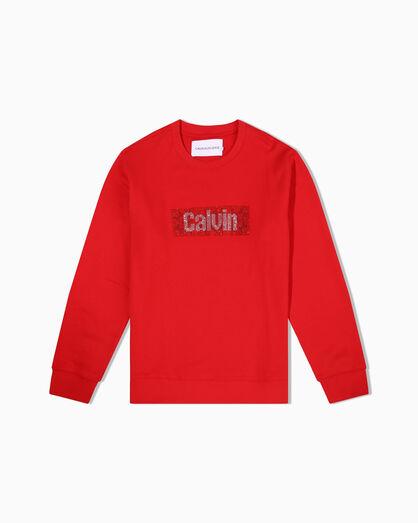 CALVIN KLEIN RHINESTONE CALVIN BOX LOGO クルーネックスウェットシャツ