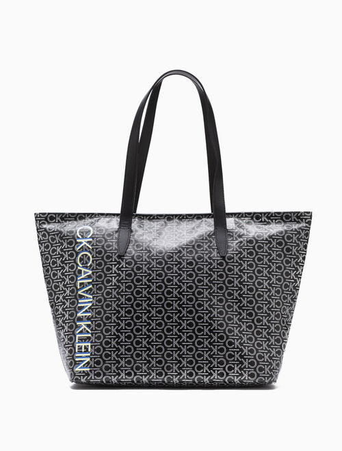 CALVIN KLEIN ALL OVER LOGO ZIP TOTE