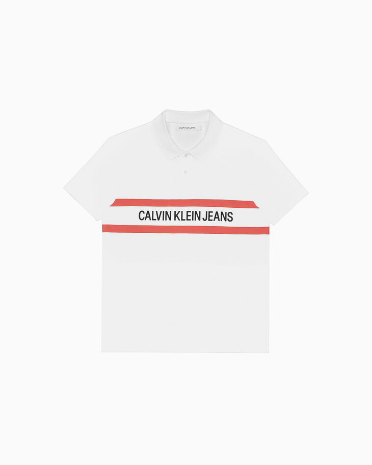 CALVIN KLEIN INSTITUTIONAL 條紋標誌 POLO 恤