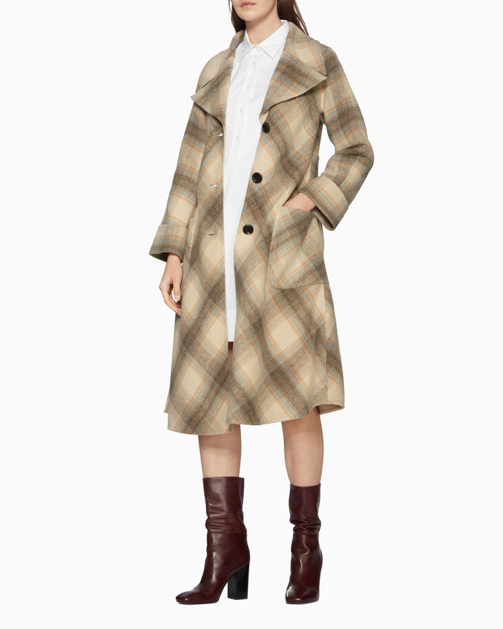 CALVIN KLEIN LONG BRUSHED COAT