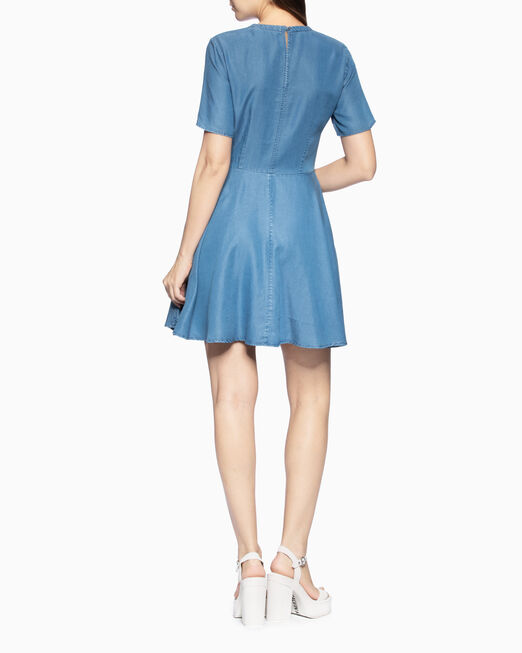 CALVIN KLEIN INDIGO SHORT SLEEVE FLARED 드레스