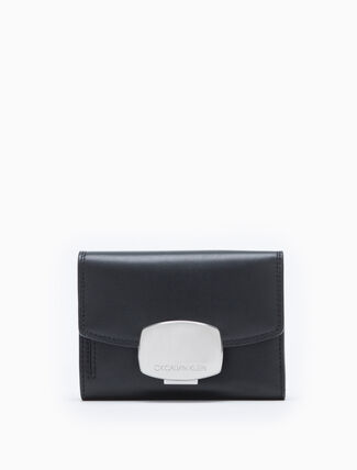 CALVIN KLEIN COMPACT FLAP WALLET WITH METAL BUCKLE