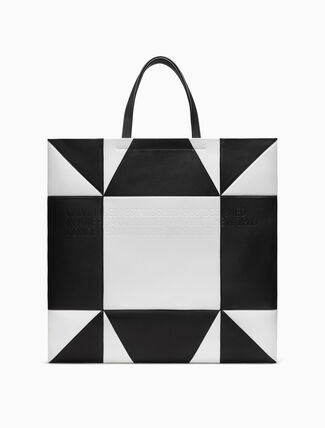 CALVIN KLEIN Oversized Geometric Quilted Tote In Nappa Leather