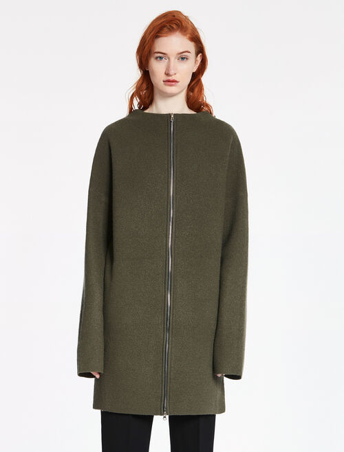 CALVIN KLEIN FELTED MERINO JACQUARD Long Sleeves ZIP SWEATER COAT