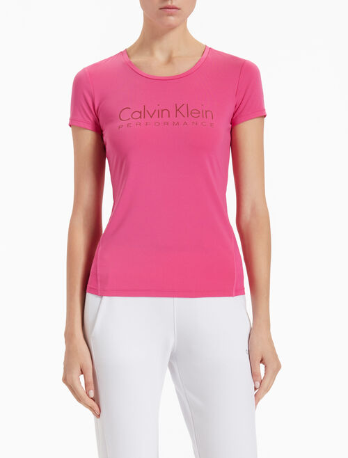 CALVIN KLEIN LOGO SHORT-SLEEVE TEE WITH MESH PANEL