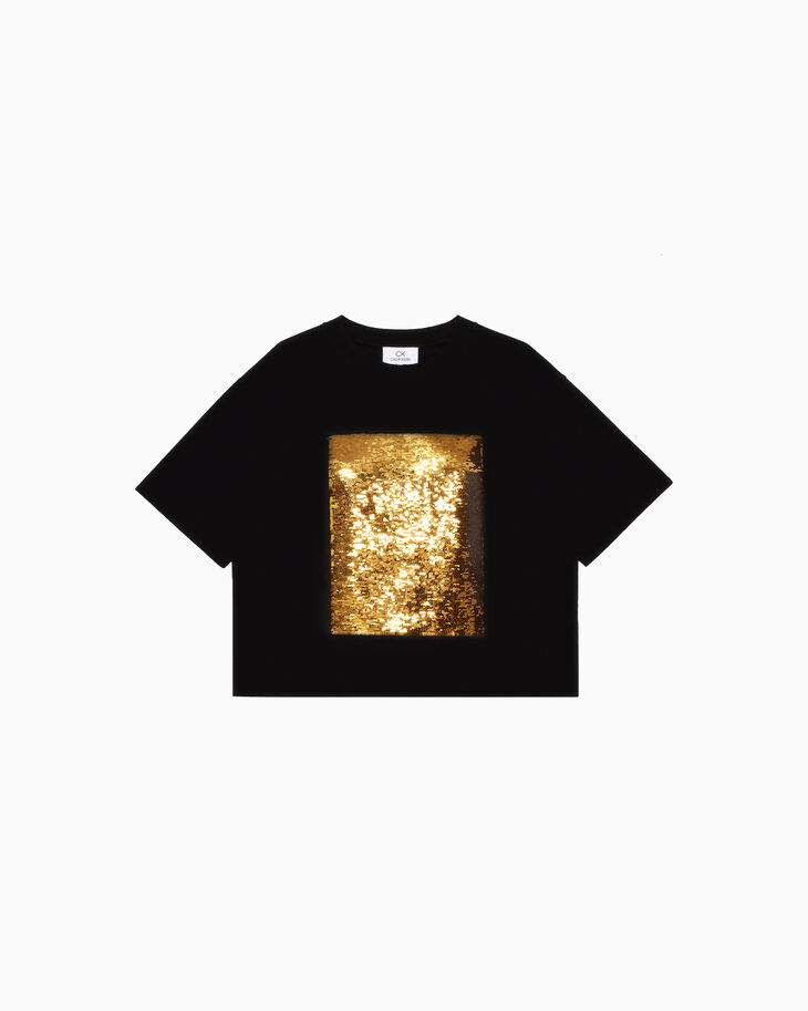 CALVIN KLEIN CLASSIC COTTON SEQUINNED BOXY TEE