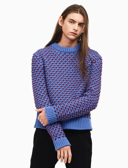 CALVIN KLEIN bi color textured crew neck sweater