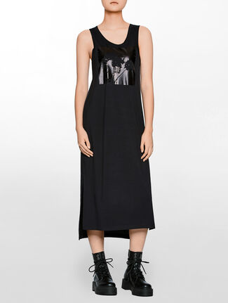 CALVIN KLEIN FABRIC MIX DRESS WITH PRINT