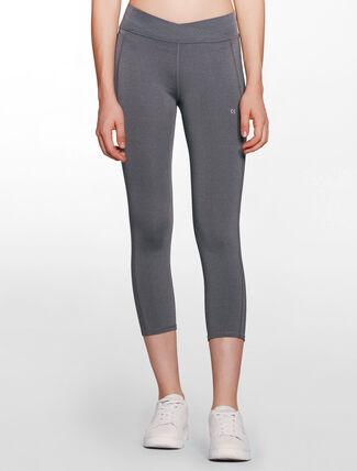 CALVIN KLEIN overlapped design waistband cropped length legging