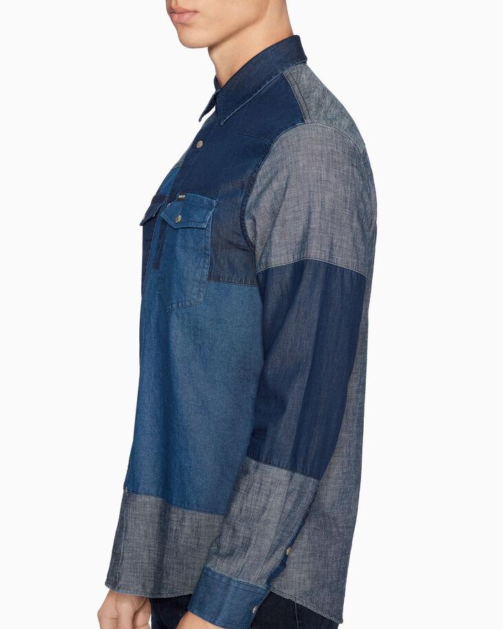 CALVIN KLEIN INDIGO PATCHWORK シャツ