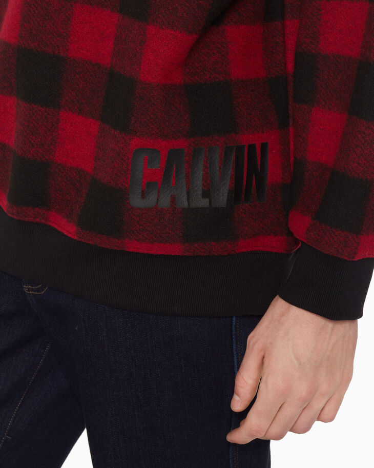 CALVIN KLEIN PLAID FLEECE SWEATER
